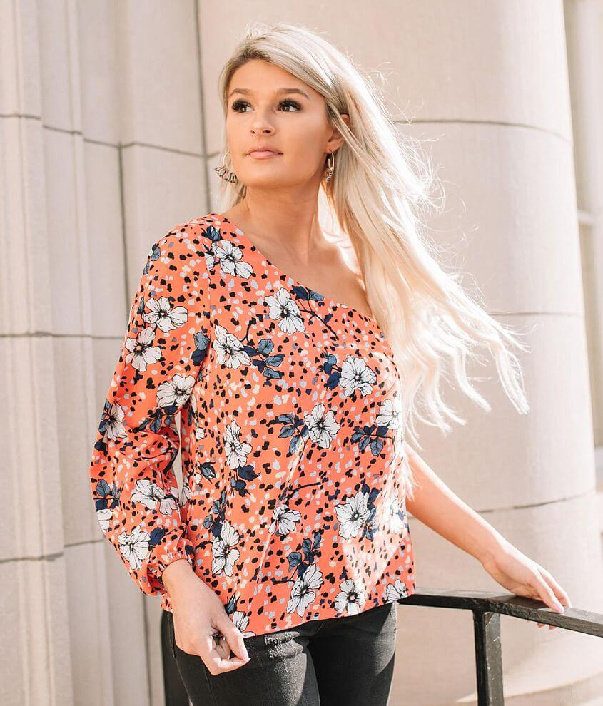 Willow & Root Floral One Shoulder Top front view
