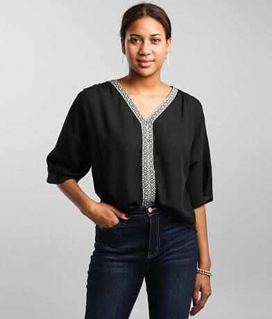 Buckle Black Embroidered Chiffon Top