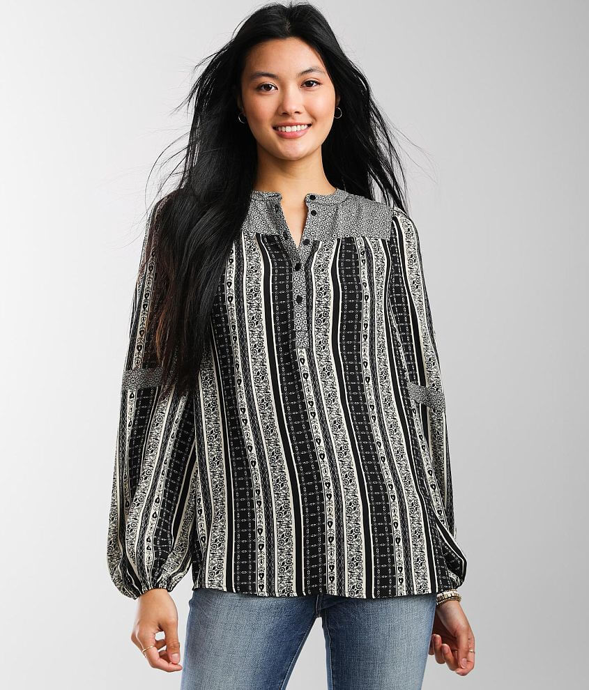 Buckle Black Two Pieced Henley Top Set front view