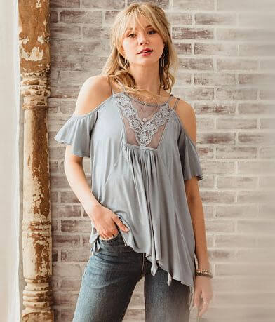 Gimmicks Cold Shoulder Mesh Tunic Top