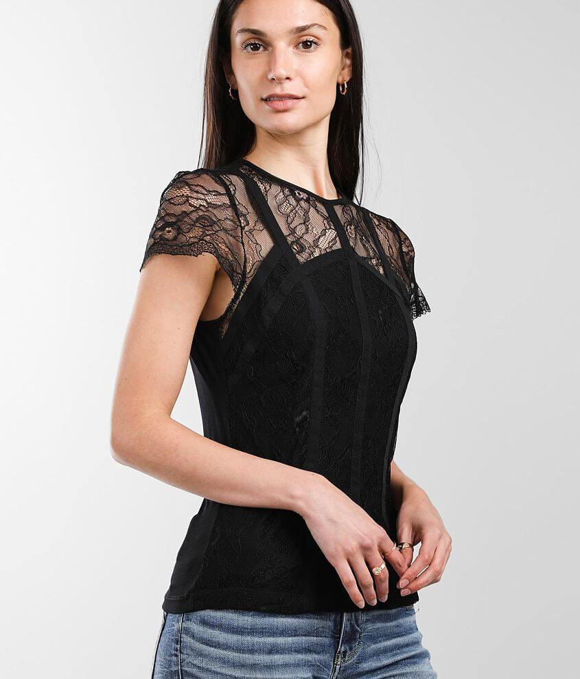red by BKE Floral Lace Top front view