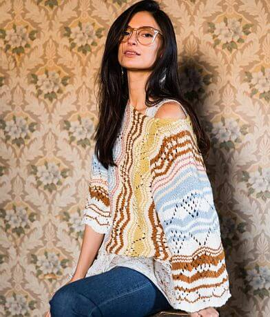 Gimmicks Striped Open Weave Sweater