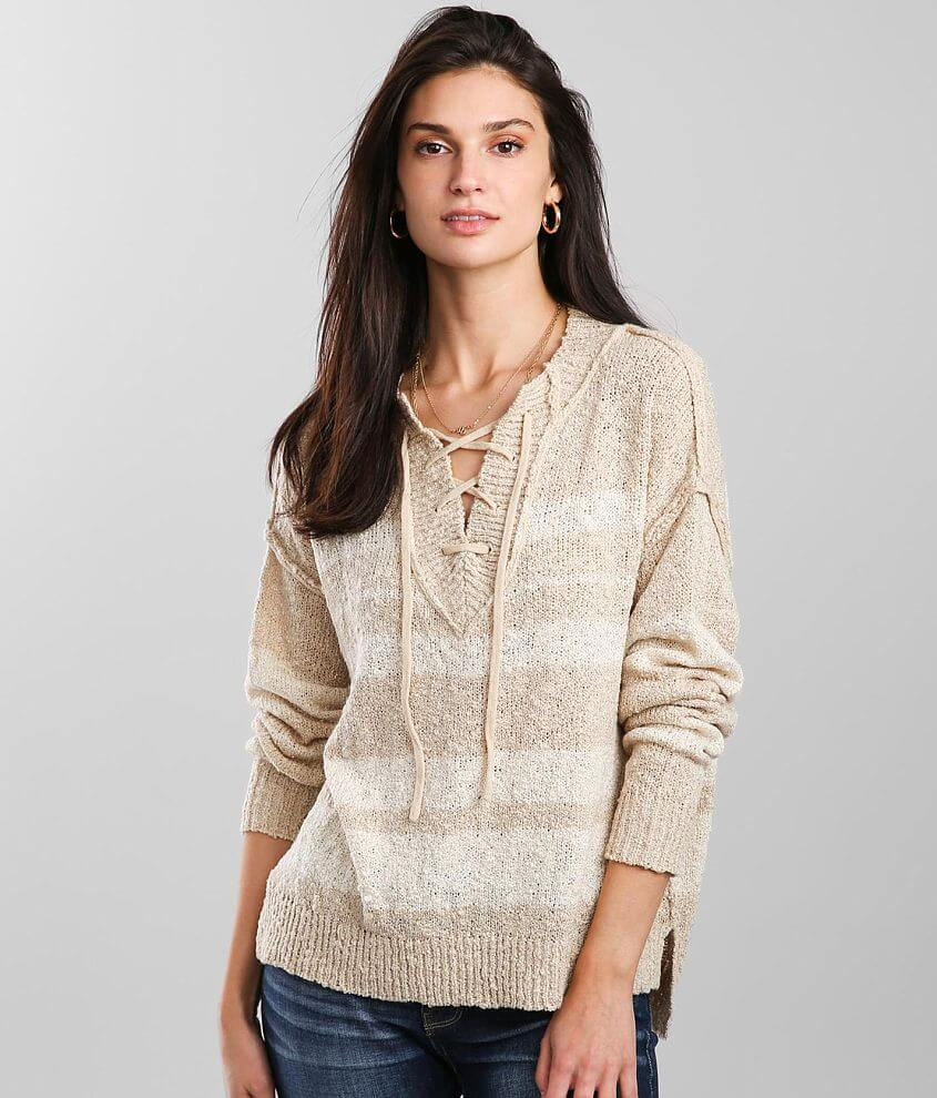 BKE Striped Lace-Up Sweater front view