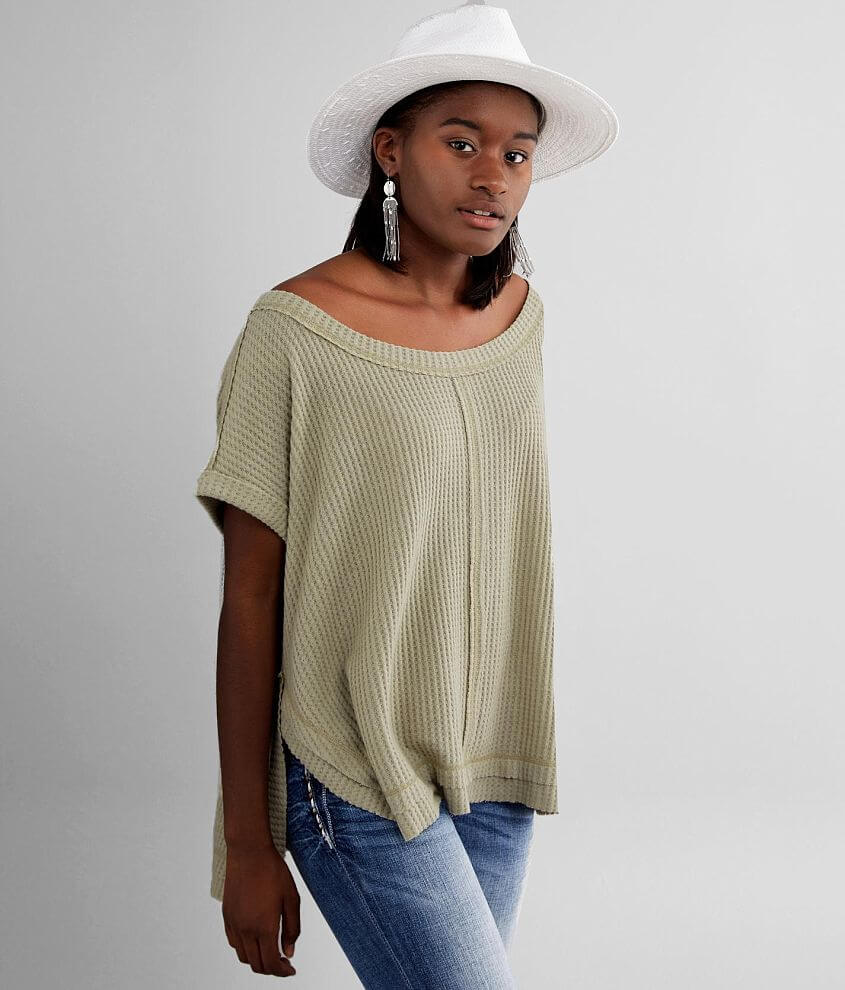 BKE Brushed Waffle Knit Top front view
