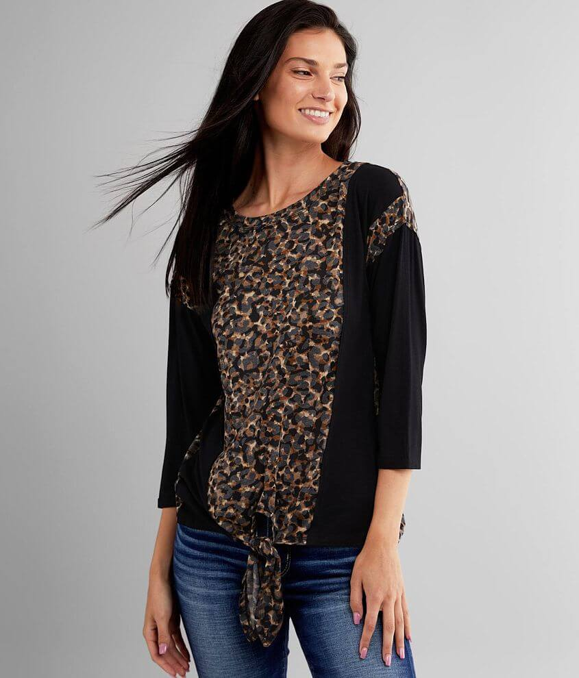 BKE Pieced Cheetah Print Top front view