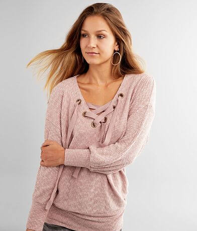 BKE Lace-Up Dolman Tunic Top