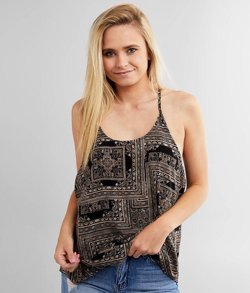 Willow & Root Printed Woven Tank Top front view