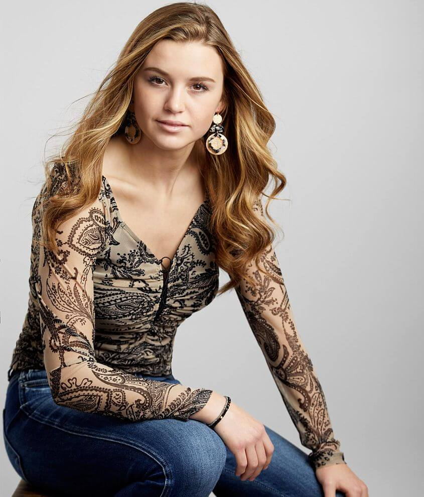 Willow & Root Ruched Paisley Mesh Top front view