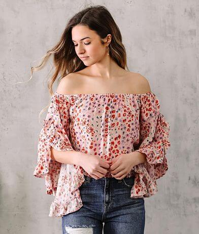 Willow & Root Floral Bell Sleeve Top