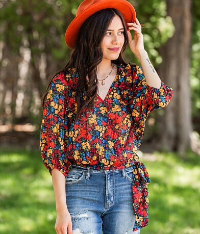Willow & Root Retro Floral Ruffle Top