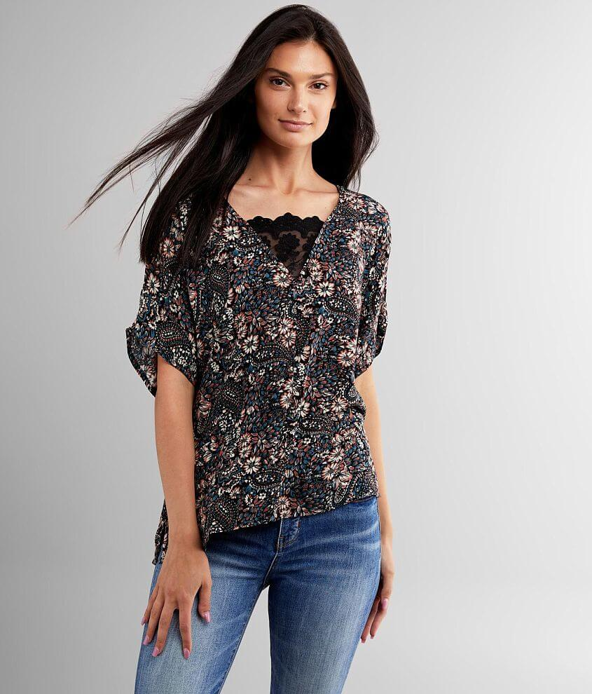 Daytrip Paisley Floral Dolman Top front view