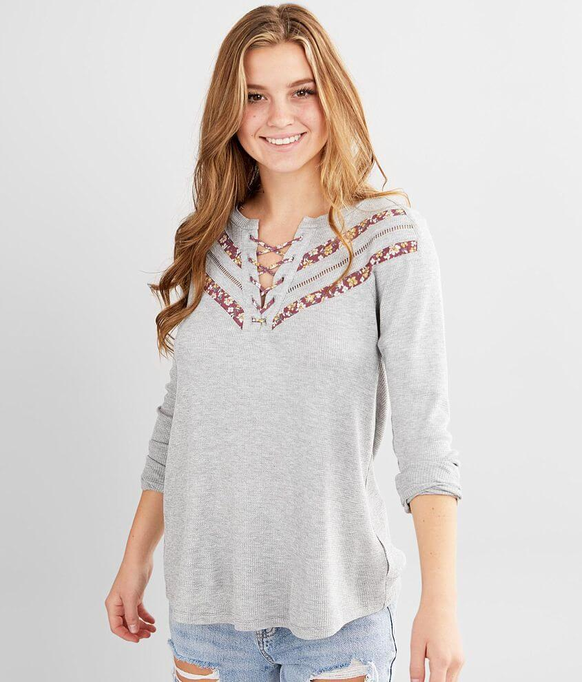 Daytrip Pieced Lace-Up Thermal Top front view