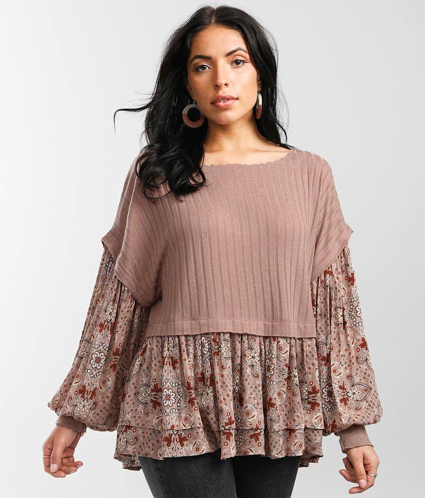 Gimmicks Pieced Floral Print Top front view