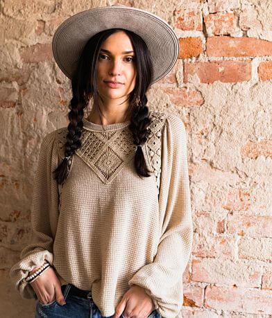 Gimmicks Pointelle Knit Crochet Top
