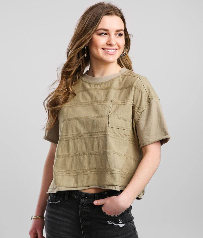 Gilded Intent Washed Faux Pocket T-Shirt front view