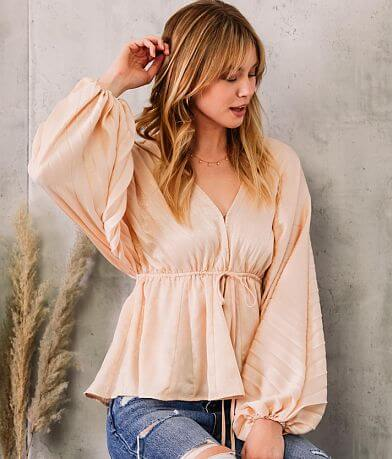 Willow & Root Pleated Chiffon Dolman Blouse