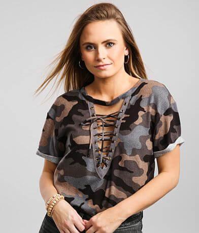 BKE Camo Lace-Up Cut-Out T-Shirt