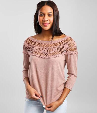 Daytrip Crochet Yoke Wide Neck Top