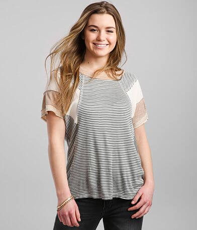 BKE Pieced Dolman Striped T-Shirt