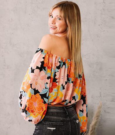 Willow & Root Floral Cropped Top