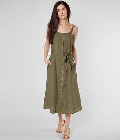 Daytrip Linen Blend Button Down Dress