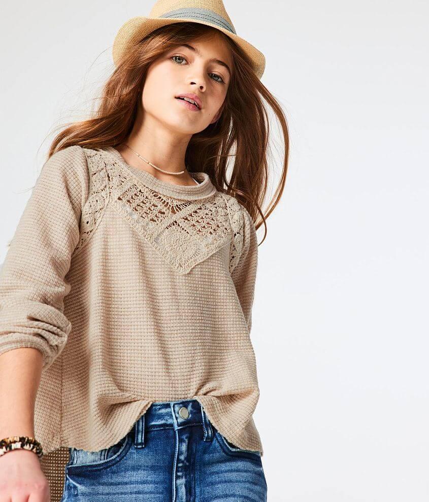 Girls - Gimmicks Girl Pointelle Knit Crochet Top front view