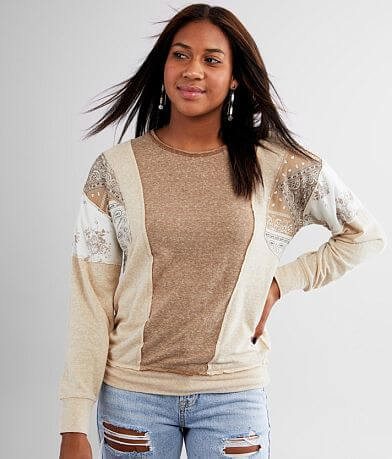 Daytrip Pieced Paisley Floral Top