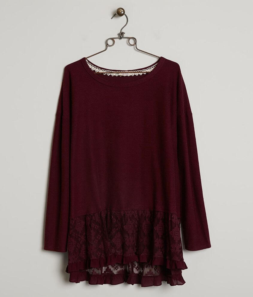 4f857577497 Jolt Lace Trim Top - Plus Size Only - Women s Shirts Blouses in Wine ...