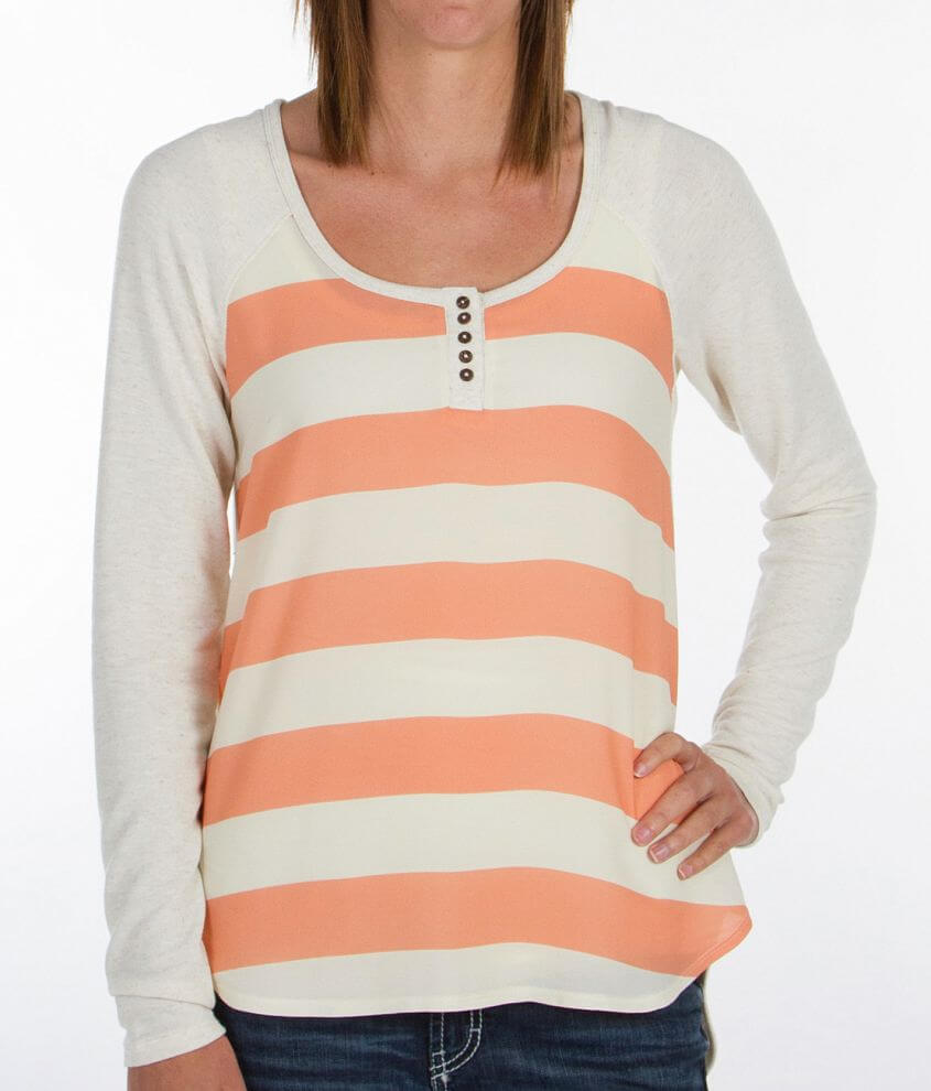 Jolt Striped Henley Top front view