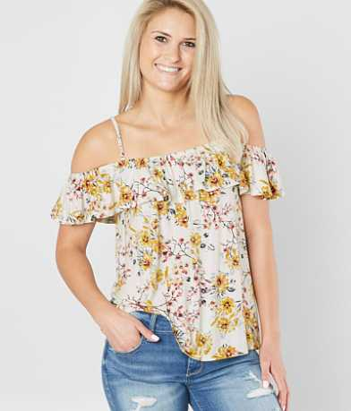 Jolt Floral Cold Shoulder Top