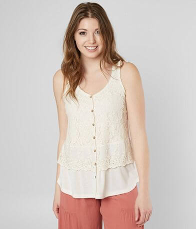 Jolt Faux Button Down Tank Top