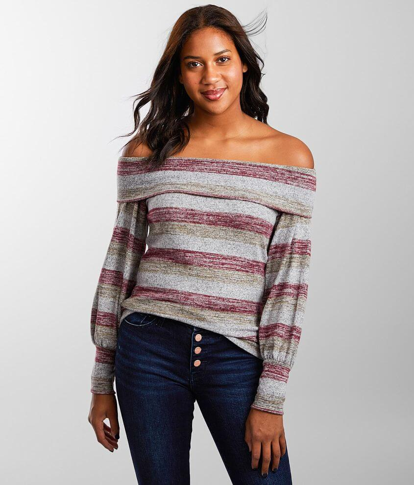 Daytrip Brushed Knit Off The Shoulder Top front view