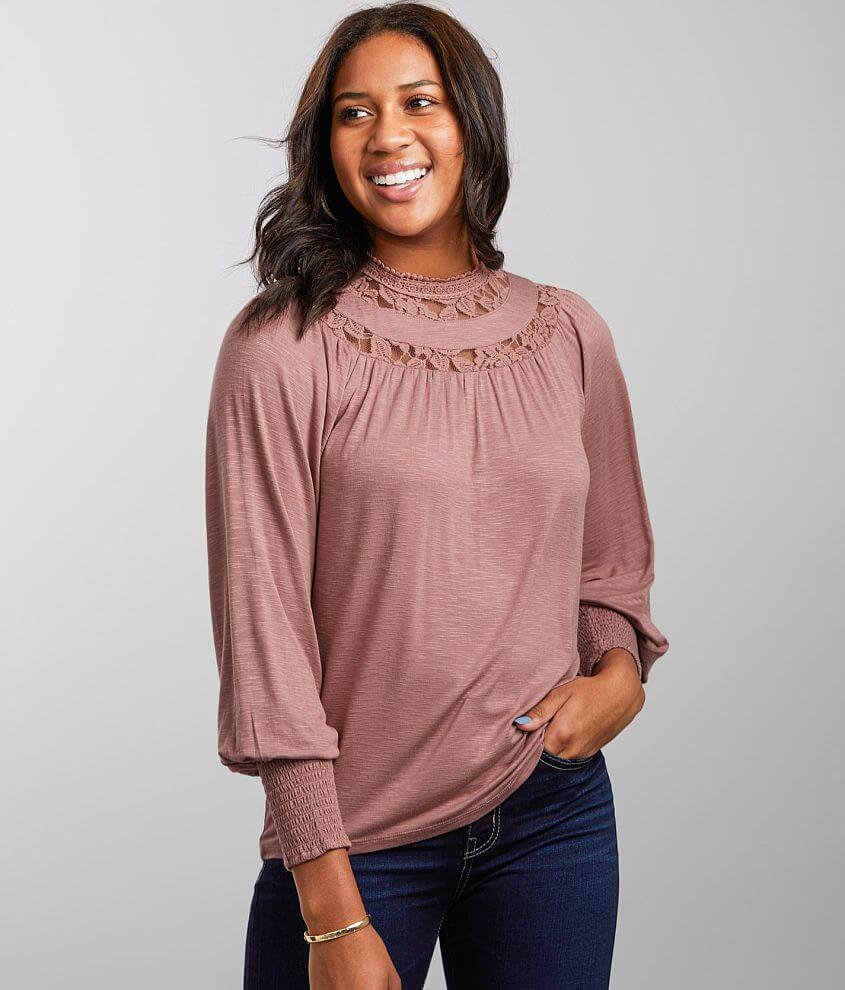 Daytrip Lace Crochet Mock Neck Top front view