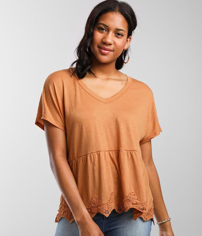 Daytrip Textured Knit Babydoll Top front view