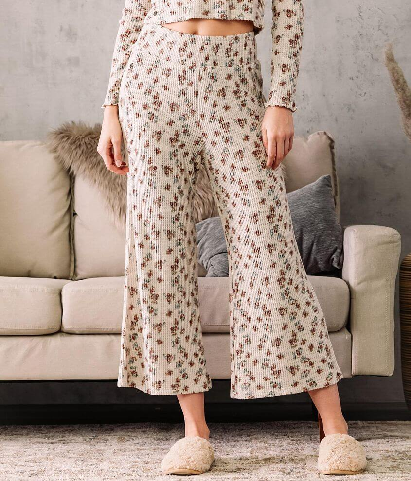 Fade by BKE Waffle Knit Wide Leg Cropped Pant front view