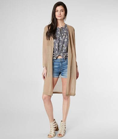 mystree Metallic Flyaway Cardigan Sweater