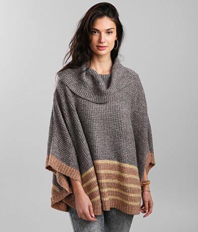 mystree Striped Cowl Neck Poncho Sweater