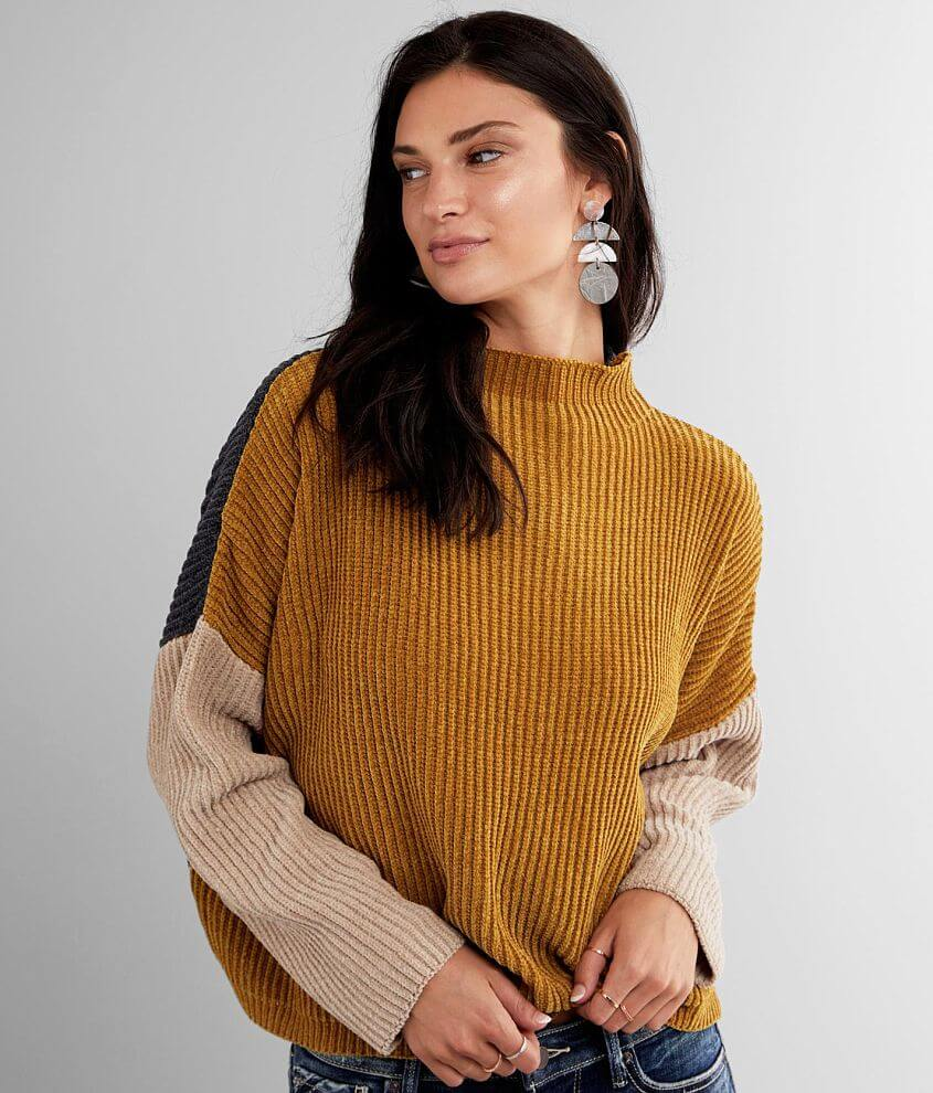 mystree Color Block Chenille Sweater front view