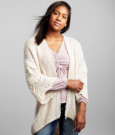 mystree Pulled Stitch Cardigan Sweater - One Size