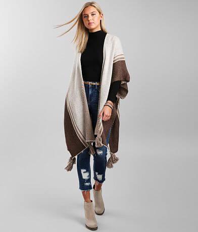Mystree Striped Poncho Cardigan Sweater - One Size