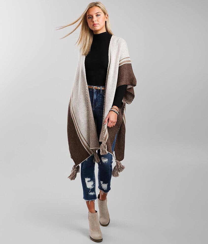 mystree Striped Poncho Cardigan Sweater - One Size front view