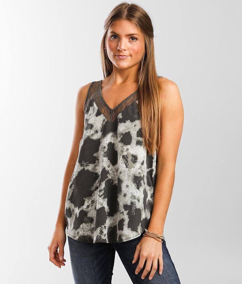 mystree Lace Trim Tank Top front view