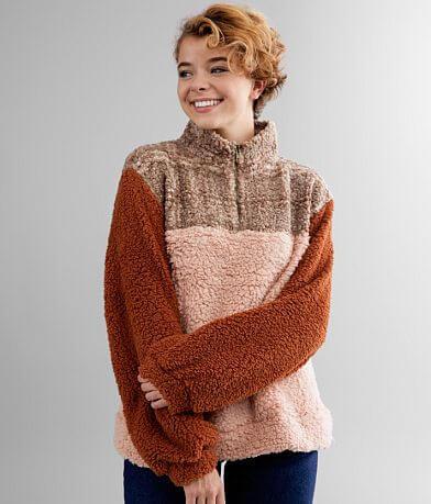 mystree Quarter Zip Color Block Fleece Pullover