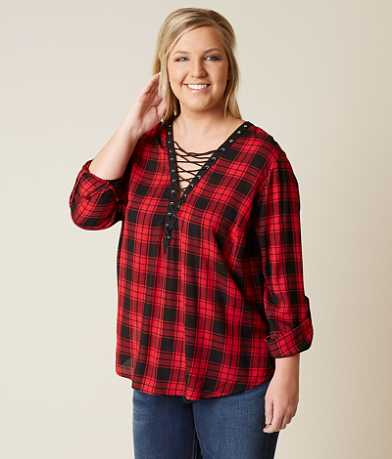 Daytrip Plaid Top - Plus Size Only
