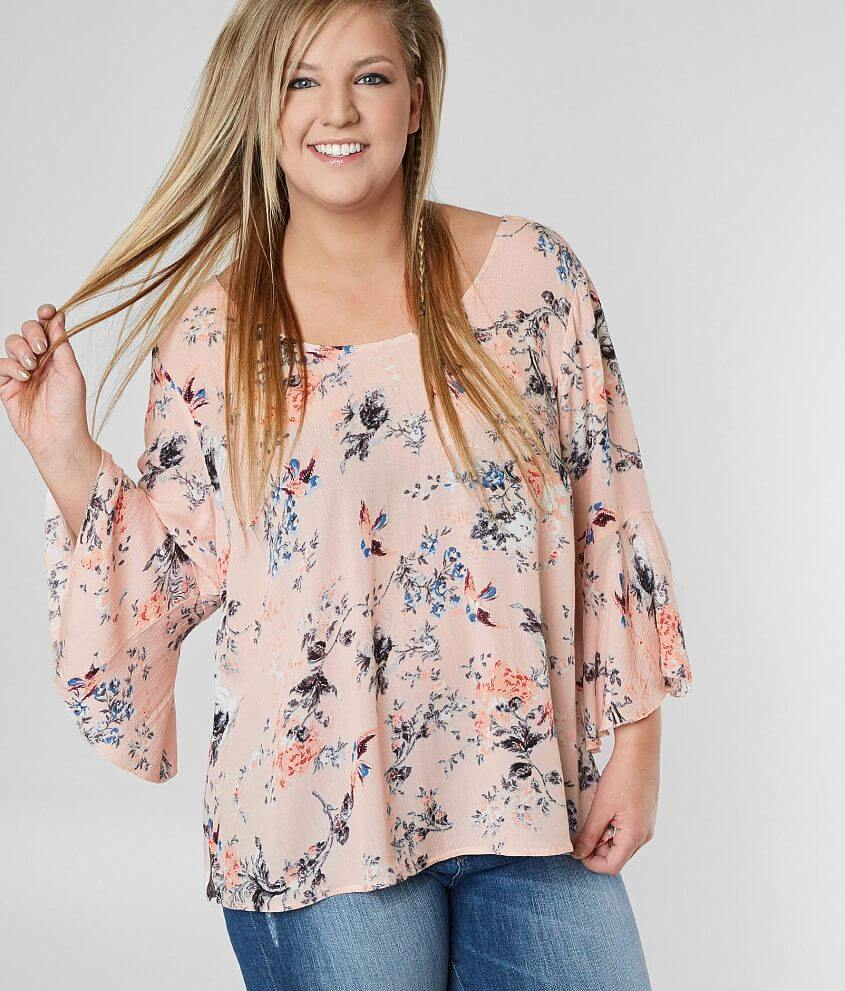 07d80403b87e52 Daytrip Floral Print Top - Plus Size Only - Women's Shirts/Blouses in Blush  | Buckle