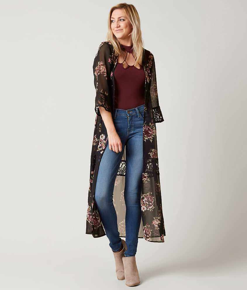 Daytrip Floral Duster Cardigan - Women's Kimonos in Black | Buckle