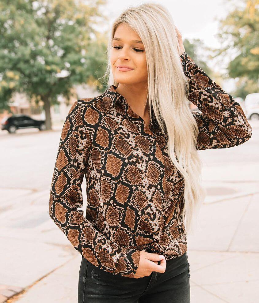 Willow & Root Snake Print Twisted Hem Blouse front view