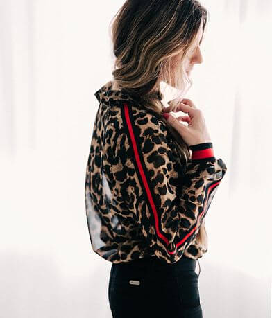 Willow & Root Cheetah Chiffon Blouse