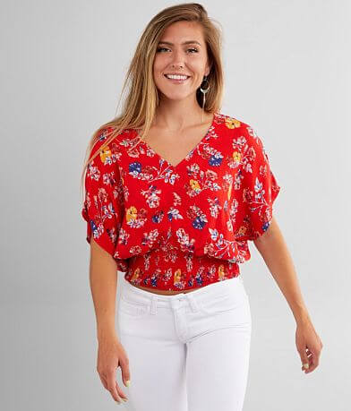 Willow & Root Crinkle Floral Top