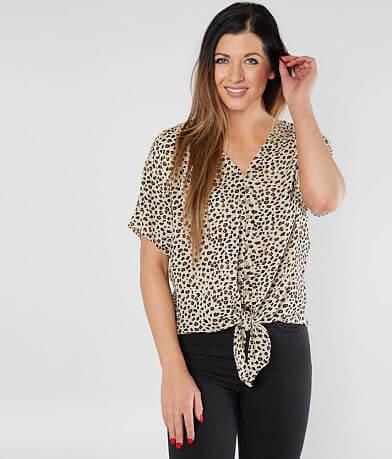 Daytrip Leopard Front Tie Top